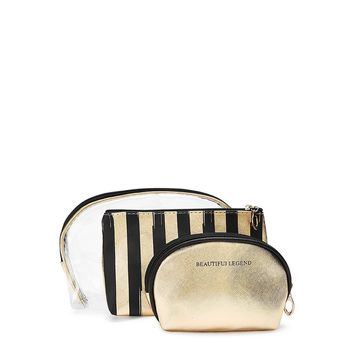 Striped Combination Makeup Bag 3pcs