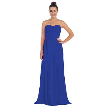 Royal Blue Bridesmaid Dress A Line Long Chiffon Sweetheart