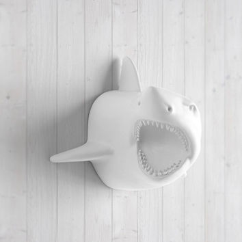 Faux White Shark Head by Wall Charmers™ - Fake Ceramic Animal Decorative Resin Mounted Plastic Taxidermy Mount Beach Decor Replica Art