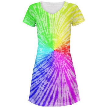 Rainbow Pride LGBT Tie Dye All Over Juniors V-Neck Dress
