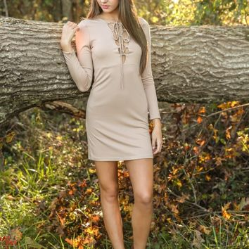 The World Is Yours Dress-Taupe