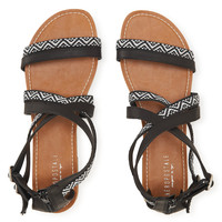 Aeropostale  Tribal Gladiator Sandal - Black, 6