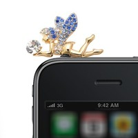 Gold Plated Crystal Fairy iPhone Jack Anti Dust Plug Cover Stopper (Blue Crystal)
