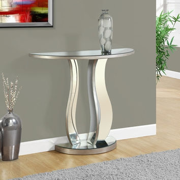"CONSOLE TABLE - 36""L / BRUSHED SILVER / MIRROR"