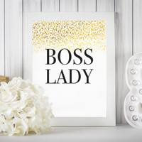"Boss Lady DIGITAL DOWNLOAD 8"" x 10"" Gold Glitter Printable Office Desk Decor Wall Art"