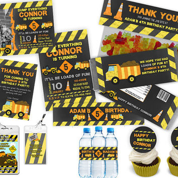 Construction Site Party Set - Full Set of Party Supplies Dump Truck Chalk Package - Pack Invitation Cards Favors Party Kit Boys Birthday