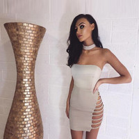 Friday On My Mind Mini Beige Slit Cut Out Dress