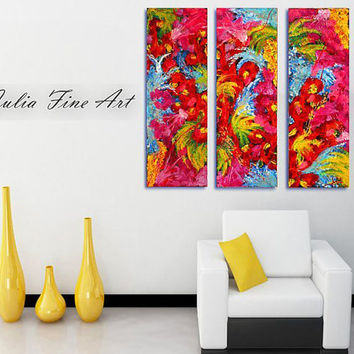 Abstract Print, Floral Painting, Triptych Canvas, Flowers Art, Large Painting, Three Part, Red, Blue, Green, Modern Wall Decor, Colorful