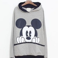 Gray Mickey Cartoon Casual Sweatshirt S002593