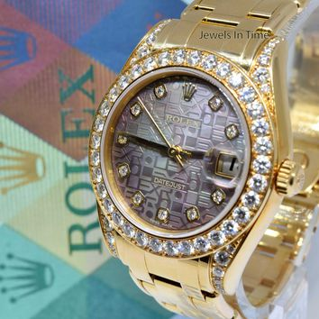 Rolex Pearlmaster 34mm 18k Yellow Gold Jubilee Diamond Dial Box/Papers K 81158