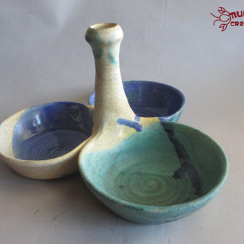 Three Bowl Server - Green, Tan, and Blue