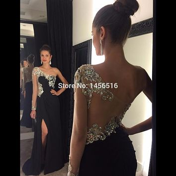 1192W Sexy Sparkly Crystal Beaded One Long Sleeve Front Slit Prom Dresses 2017 Black Chiffon Mermaid Long Party Evening Dress