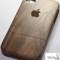 wood iphone 4 case, wood iphone 4s case, iphone 4 wood case, apple logo iphone 4 case - walnut wood iphone case, apple logo, monogram