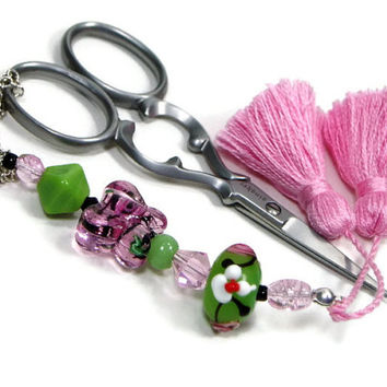 Scissor Fob, Pink, Butterfly, Green Quilting, Sewing, Cross Stitch, Beaded, Gift for Crafter, DIY Crafts