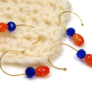 Removable Stitch Markers Set, DIY Crochet, Knitting, Snag Free, Orange, Blue, Gift for Crochet, TJBdesigns
