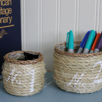 Nautical bathroom/nursery decor/Set of 2 wrapped jars with custom stenciling