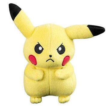 "Official Tomy Pokemon Angry Pikachu 8"" Plush Thunderbolt US Seller USA Authentic"