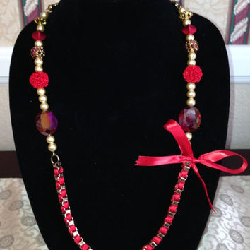 Gold and Red Bow Necklace