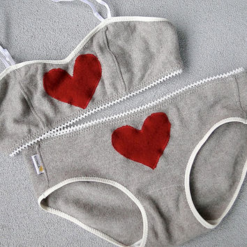 Custom cashmere lingerie set - neutral grey red heart bra and panties set - washable