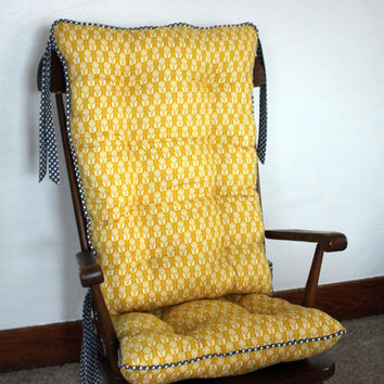 Custom Organic Abbey Rocking Chair Cushions, Glider Replacement Pads, Rocker Cushions, Wooden Rocking Chair Pads
