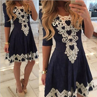 Dark Blue Short Sleeve High Waist T-Shirt with Lace