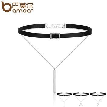 BAMOER Trendy Double Layer 925 Sterling Silver & Black Braid Bar Square Chokers Pendant Necklaces