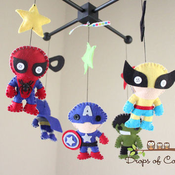 Baby Mobile - Baby Crib Mobile - Nursery Super Heroes Mobile (You Can Pick Other Custom Heroes)