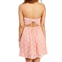 Peach Strapless Lace Dress