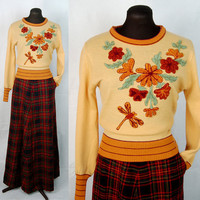 Vintage 70s chenille sweater  gold sweater with by vintagerunway