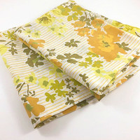 Vintage Flower Pillowcase Set of 2 Orange Flower Green Flower Yellow Flower Standard Shabby Cottage Floral Fabric Linens Pillowcases Bedroom