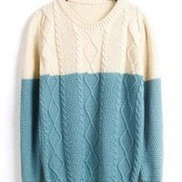 Soft Spoken Color Block Cable and Lattice Knit Sweater in Blue & Cream | Sincerely Sweet Boutique