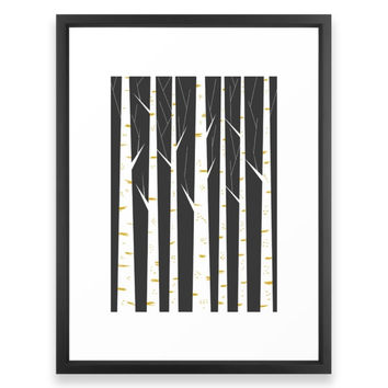 Society6 Birch Forest Framed Print