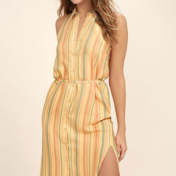 Sunburst Light Orange Striped Shirt Dress