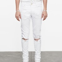 Washed White Destroyed Denim Jeans