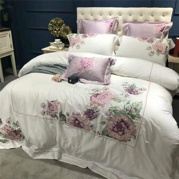 Purple floral embroidery decoration Bed set egyptian cotton white luxury Bedding Set queen king size bed sheet duvet cover sets