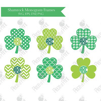 Shamrock svg cut files Shamrock Circle Monogram Frames svg eps dxf png files Vinyl Cutters Cricut Silhouette Studio Vector Graphic