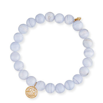Sydney Evan Anniversary Blue Lace Agate Beaded Bracelet with Diamond Smiley Charm
