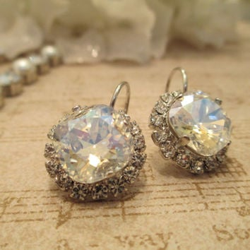 swarovski 12mm crystal wedding, bridal drop earrings