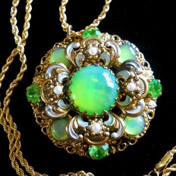 Vaseline Uranium Glass Filigree Necklace, Czech Rhinestones & Cabochons, Vintage