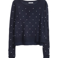 H&M - Jacquard-knit Sweater - Dark blue/dotted - Ladies