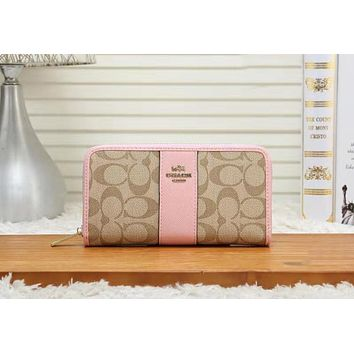 Coach Trending Women Stylish Leather Zipper Wallet Purse Pink