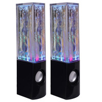 (12-Pack) Dancing Water Multicolored LED Hi-Fi Stereo Speakers w/3.5mm Auxiliary Cable (Black) - WHI-PS096