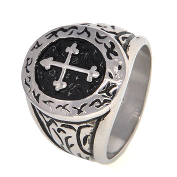 Dear Deer Stainless Steel Vintage Classic Oval Circle Surronding Cross Ring