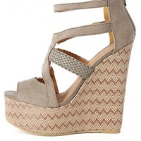 Qupid Florence-34 Woven Strappy Wedges | MakeMeChic.com