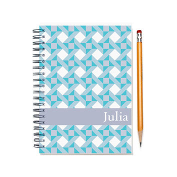 2015-2016 Custom Planner, Quilter Present, Personalized Calendar, Quilt Pattern, schedule planner, weekly planner, SKU: pl aqua quilt