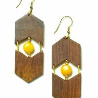 Eyes & Arrows Earrings: Mustard