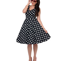 Black & White Polka Dot Misses Swing Dress