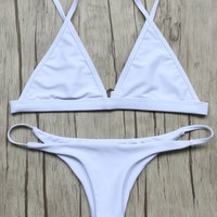 Unlined Plunge Bikini Top and Thong Bottoms