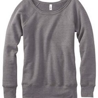 Bella Ladies 8.2 oz. Triblend Slouchy Wide Neck Fleece - SOLID WHITE TRBLND - S: Clothing