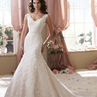 Ivory Lace Mermaid Wedding Dress Vintage Bridal Dress Custom Size 2 4 6 8 10 12